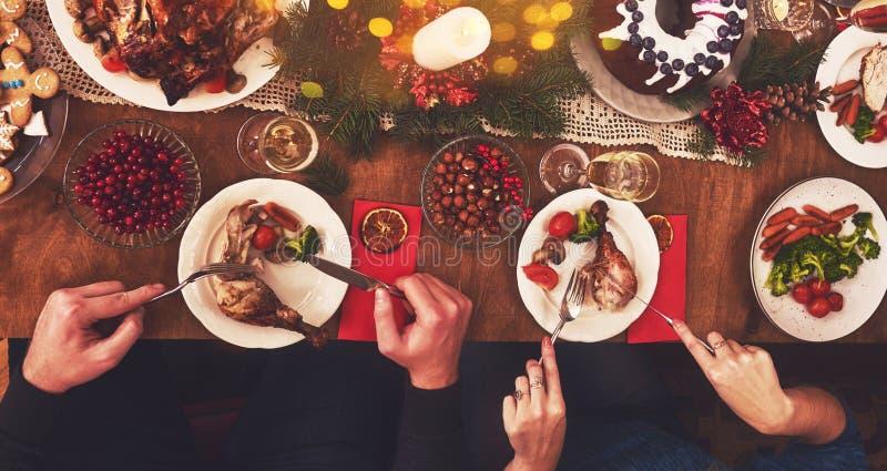 High angle view of table served for Christmas family dinner. Tab. High angle view of table served for Christmas family dinner stock images