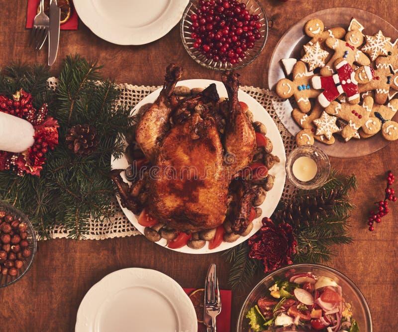 High angle view of table served for Christmas family dinner. Tab. High angle view of table served for Christmas family dinner stock photos