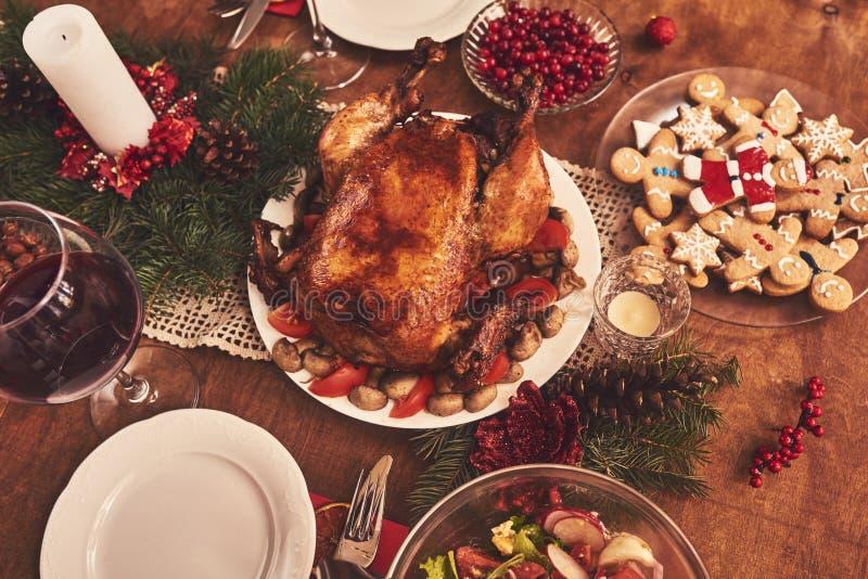 High angle view of table served for Christmas family dinner. Tab. High angle view of table served for Christmas family dinner stock photography