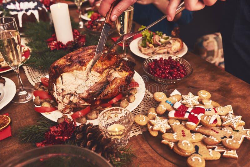 High angle view of table served for Christmas family dinner. Tab. High angle view of table served for Christmas family dinner royalty free stock image