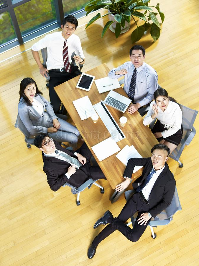 High angle view of a team of asian corporate executives stock photos