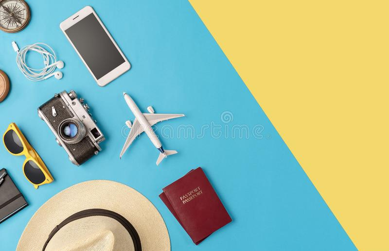 High angle view of travel accessories stock photos