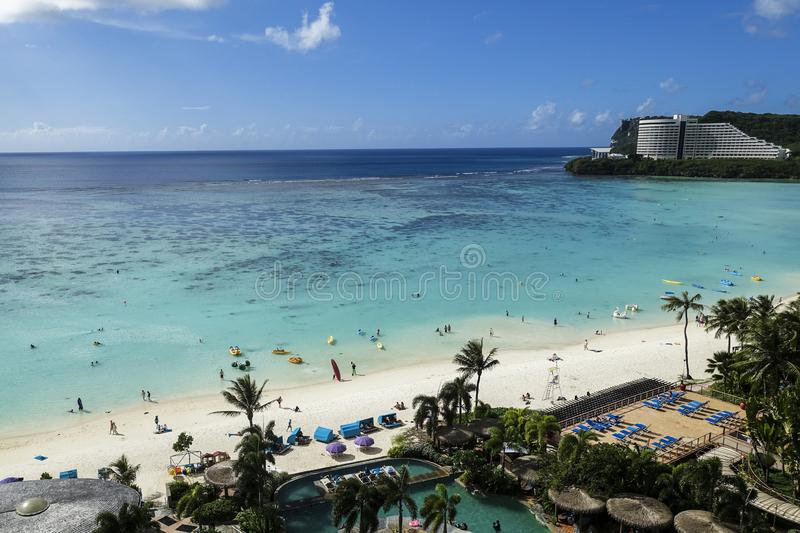High angle view of tum on bay beach, Guam stock photo