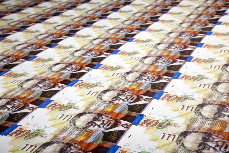 One Hundred Shekels Bills Background Stock Photography