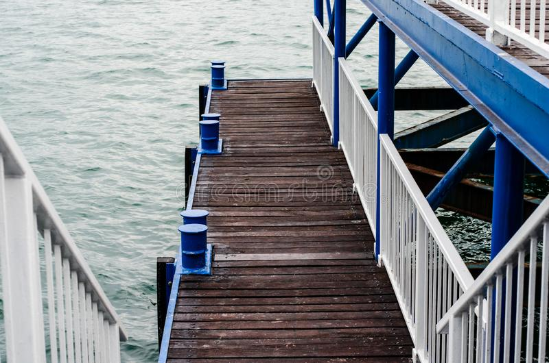 High angle view of wooden pier over sea stock photos