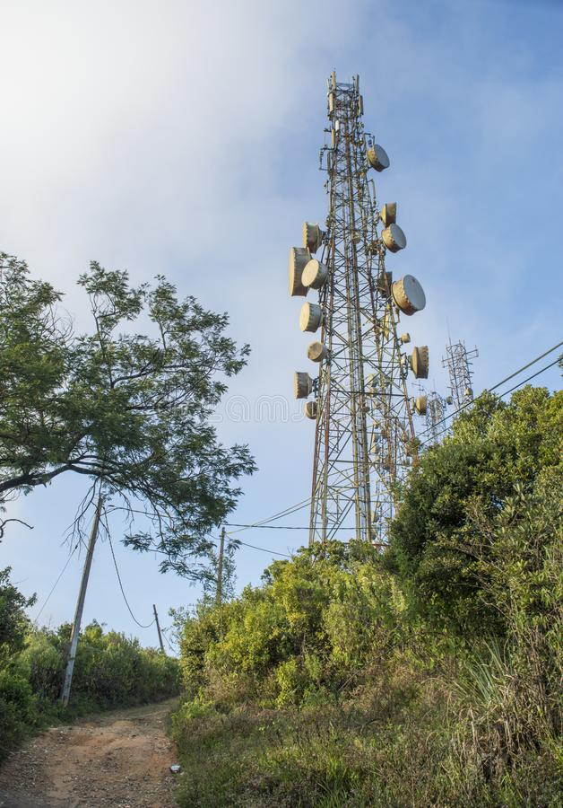 High antenna at the military base. On the mountain in Sri Lanka royalty free stock photo
