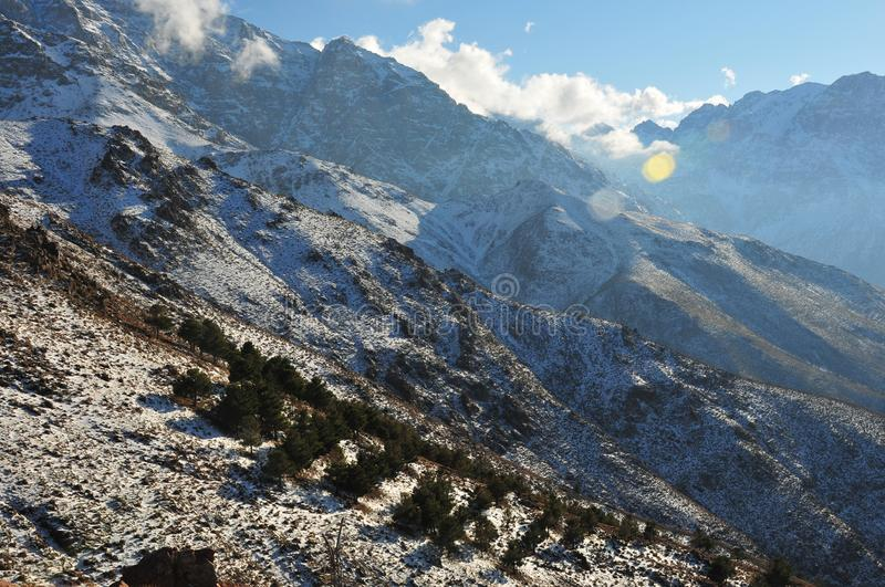 High Atlas mountain range landscape with snow on the slopes. Morocco, Africa stock photo