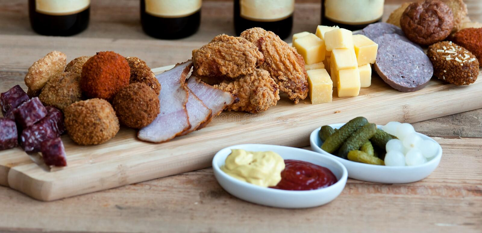 High beer . a variety of appetizers for the holiday royalty free stock image