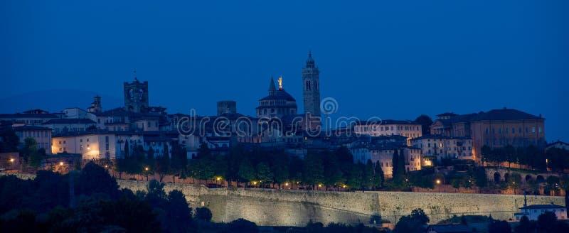 High bergamo. View of the ancient city of Bergamo at sunset royalty free stock photo