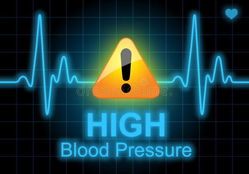 HIGH BLOOD PRESSURE written on heart rate monitor. Expressing warning on heart condition, health hazard stock illustration