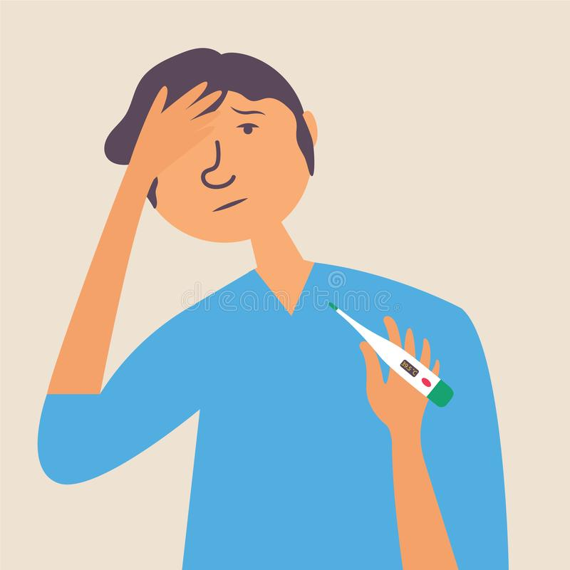 High body temperature in a man, headache. Influenza, virus, infection vector illustration