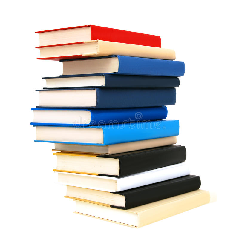 High books stack isolated stock photo