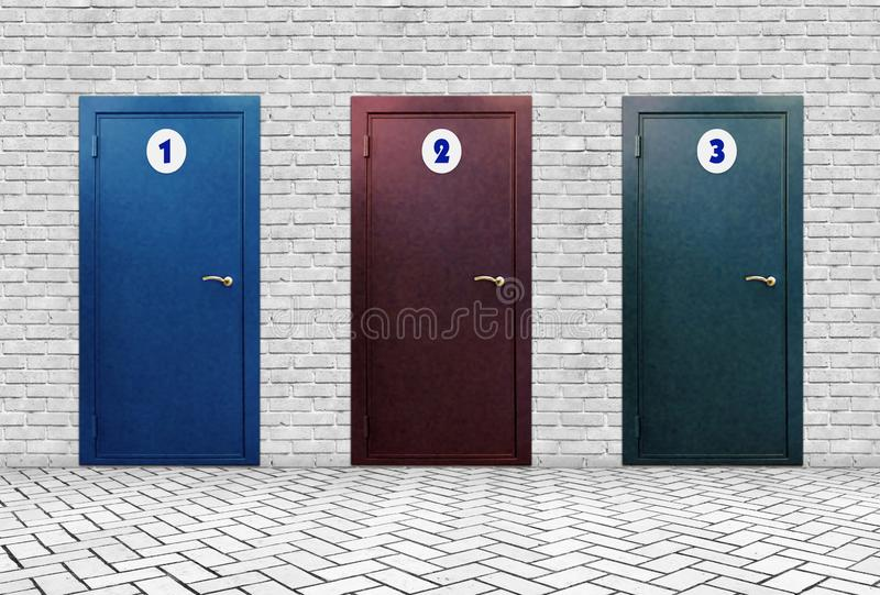 Three doors with different numbers in a brick wall royalty free stock images