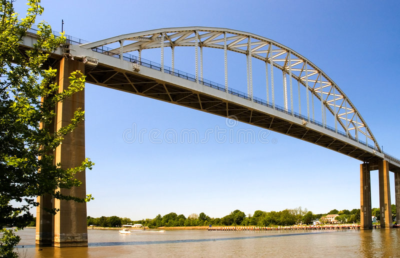 High bridge over canal royalty free stock photography