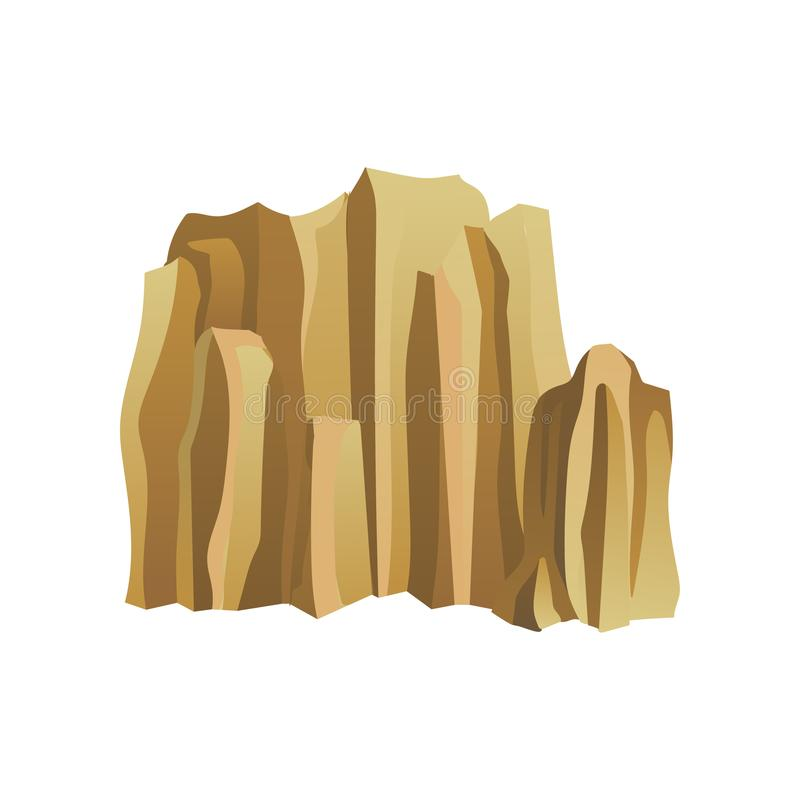 High brown rocky mountain with lights and shadows. Mountaineering theme. Flat vector for landscape design or promo stock illustration