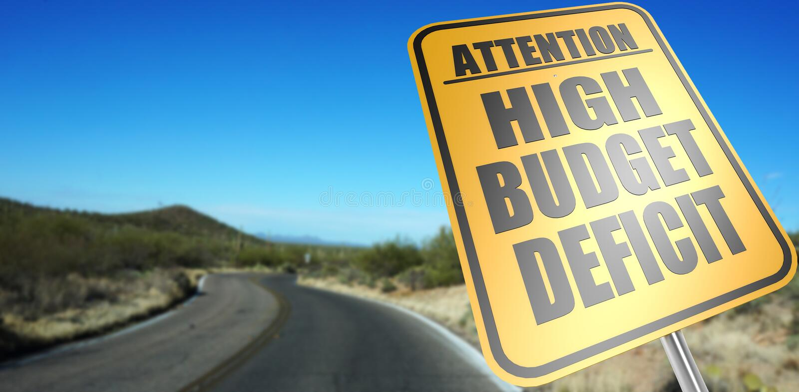 High budget deficit road sign royalty free stock image