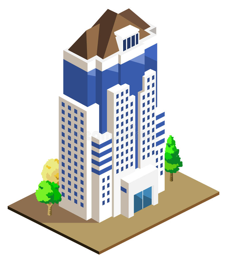High Building Isometric royalty free illustration