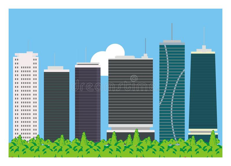High building simple background. Simple illustration of high buildings