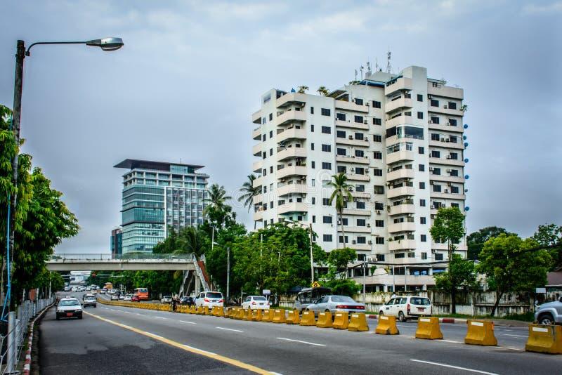 Downtown area of Yangon, Pyay road, Myanmar, June-2017 stock photography