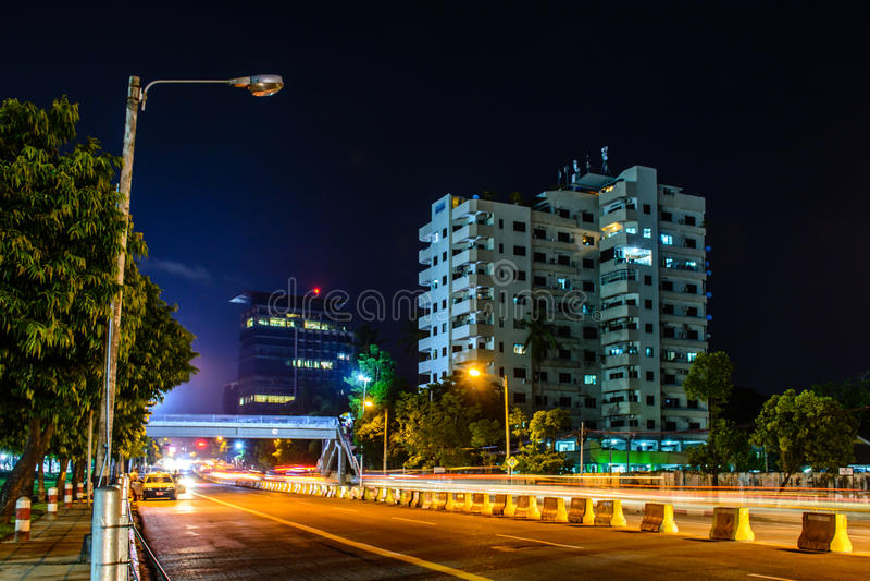 Downtown area of Yangon, night view of Pyay road, Myanmar, June-2017 stock photo