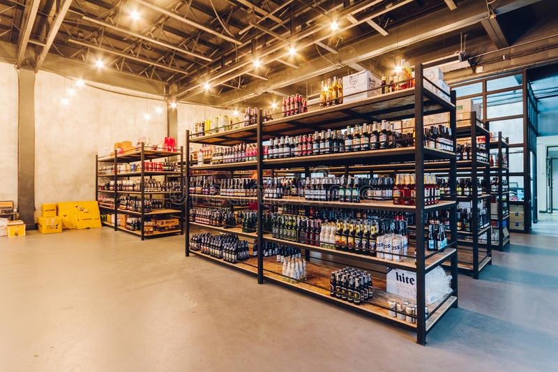 High ceiling beer storage with stable temperature of the restaurant in Bangkok, Thailand royalty free stock images
