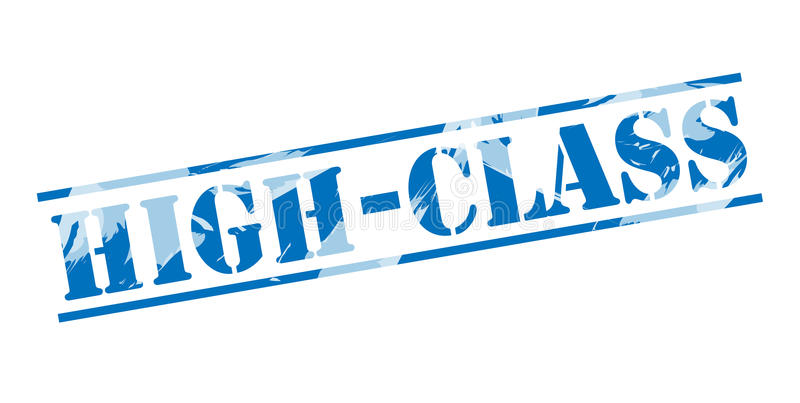 High class blue stamp. On white background vector illustration