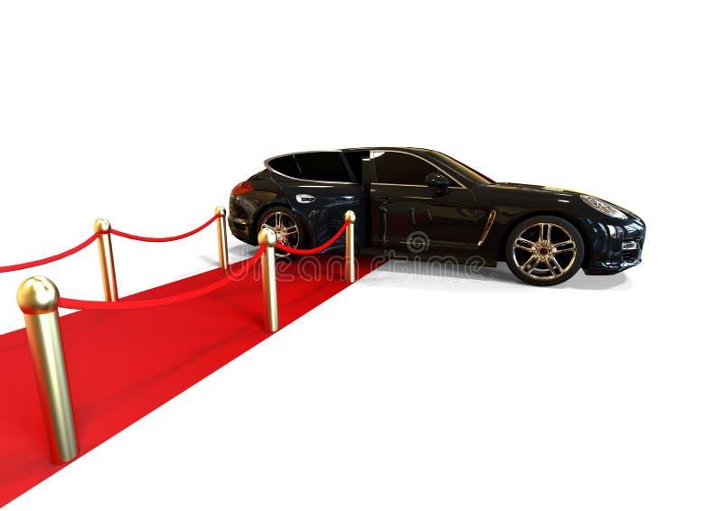 High Class Limousine. 3D render image representing a high class limousine waiting at the end of red carpet royalty free illustration