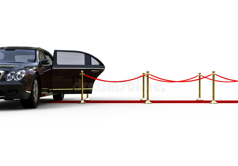 High class limousine. 3D render image representing an high class limousine waiting at the end of a red carpet with the door open royalty free illustration