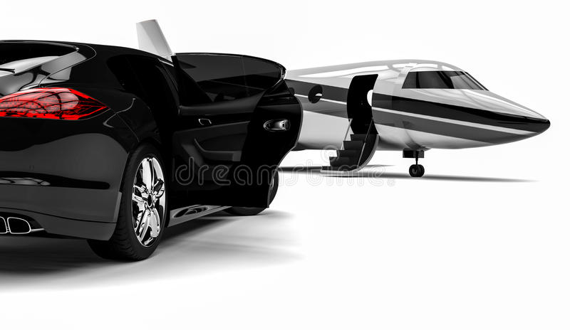 High class Limousine with private jet royalty free illustration