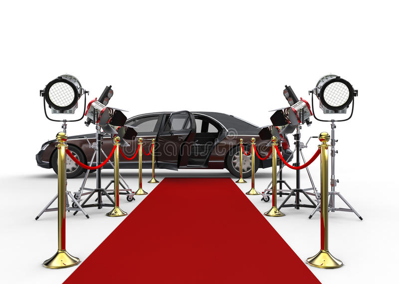 HIGH CLASS LIMOUSINE with red carpet and spotlights. 3D render image representing a HIGH CLASS LIMOUSINE with red carpet and spotlights royalty free illustration
