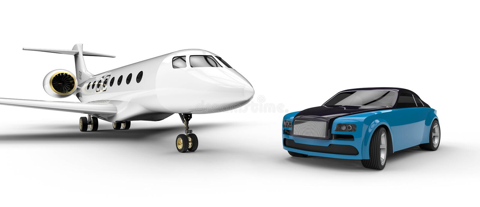 High class rides. 3D render image representing a high class transportation royalty free illustration