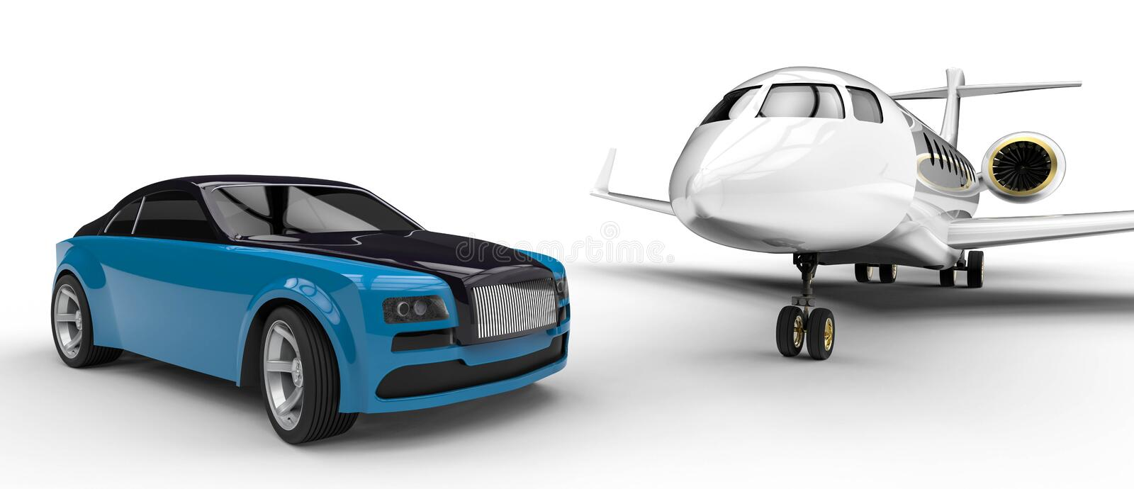 High class rides. 3D render image representing a high class transportation stock illustration