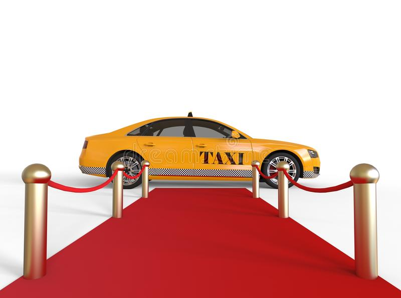 High Class Taxi. 3D render image of a red carpet with a taxi at the end representing high class taxi service stock illustration