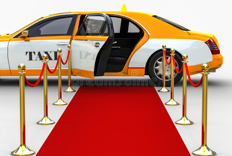 High Class taxi. 3D render image representing an high class taxi witing at the end of the red carpet royalty free illustration
