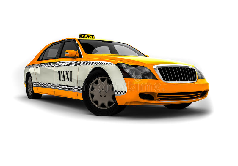 High class Taxi. 3D render image representing an High class yellow taxi royalty free illustration
