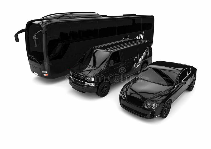 High class transportation. 3D render image representing a high class vehicles fleet royalty free illustration