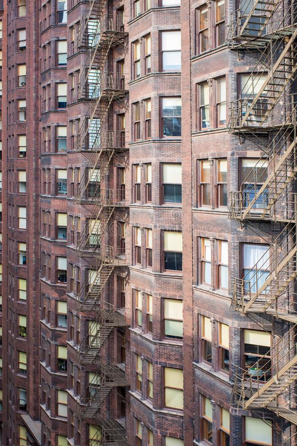 High classic brick urban building in Chicago downtown, Illinois stock image