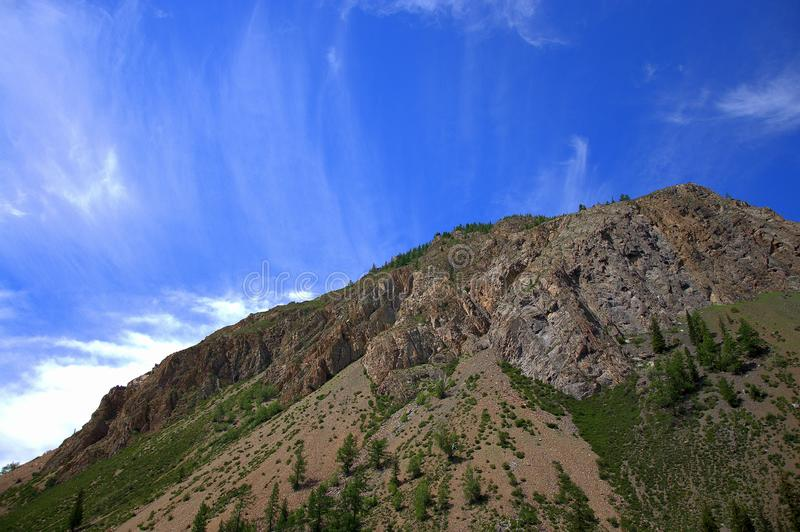 High cliff overgrown with rare coniferous forest and perennial clouds in the background. Republic of Gorny Altai, Siberia, Russia royalty free stock photo