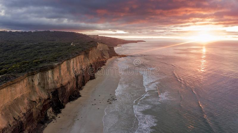 High cliff wall over sea 04 stock photo