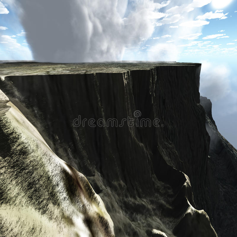 High cliffs. Dropping down to the sea stock illustration