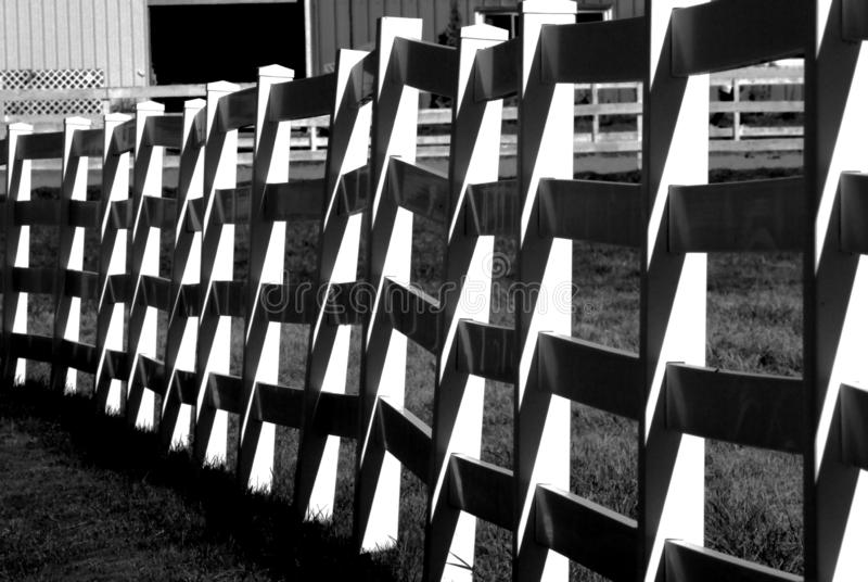 High contrast black and white of corral fencing royalty free stock images