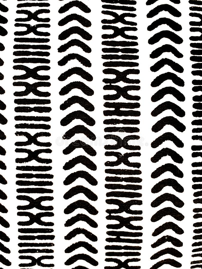 High Contrast black and white textile detail. Boho chic, accent swatch. Modern interior design and decor royalty free stock images