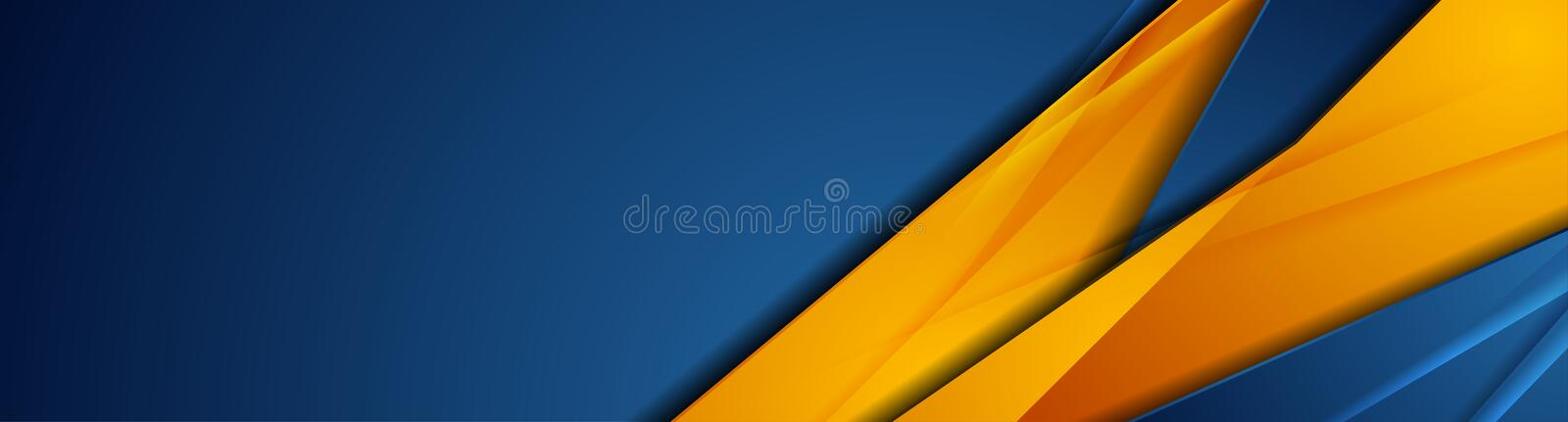 High contrast blue orange abstract tech corporate banner design. High contrast blue and orange glossy stripes. Abstract tech graphic banner design. Vector vector illustration
