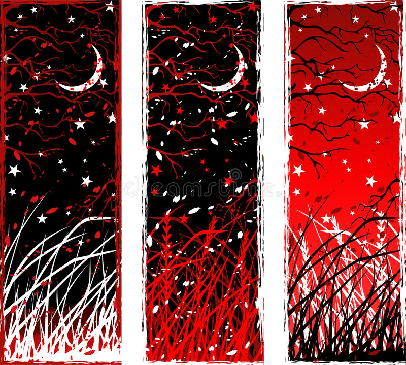 High contrast gothic vertical night banners royalty free illustration