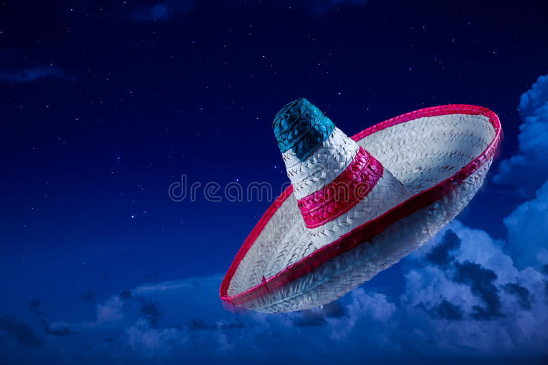 High contrast image of Mexican hat. Mexican sombrero in the sky at night royalty free stock photos