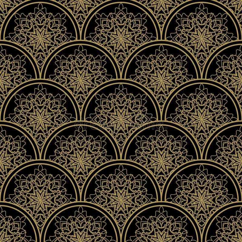Download High Contrasting Seamless Background Tile With Filigree Golden Ornament On Black Canvas. Vintage Fabric Style In Damask Design. Stock Vector - Image: 83718743
