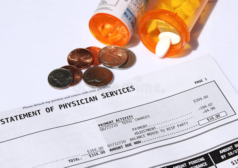 High cost of medical care stock photography