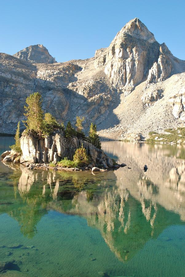 High country Rae Lake in early sunlight royalty free stock image