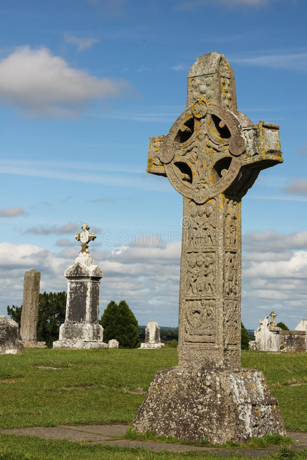 High Cross of the scriptures. Clonmacnoise. Ireland royalty free stock image