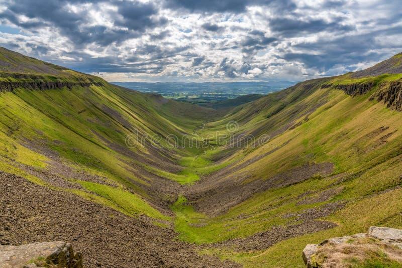 High Cup Nick, England, UK. North Pennine landscape at the High Cup Nick in Cumbria, England, UK stock images